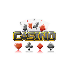 Logo text casino and playing cards for ui game vector