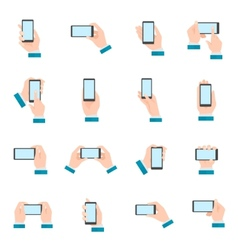Hand with phone icons vector