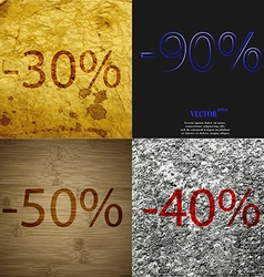 90 50 40 icon set of percent discount on abstract vector
