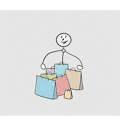 Few bags for shopping and person vector