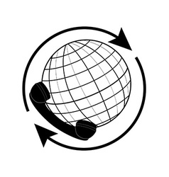 Globe and phone receiver vector