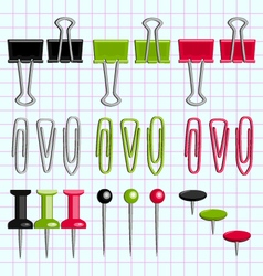 Paper clips and buttons on the notebook sheet vector