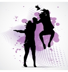 Jumping boy and girl vector