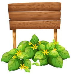 Wooden sign with yellow flowers vector