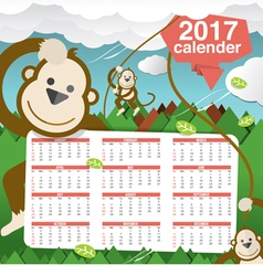 Cute monkeys 2017 calendar starts sunday vector