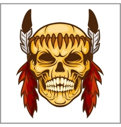 American native chief skull - vintage vesign vector