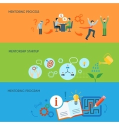 Business mentoring flat horizontal banners set vector