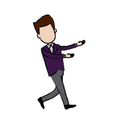 Businessman character standing suit clothes vector