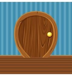 Cartoon wooden rounded door for home interior vector