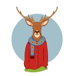 Colourful winter deer vector