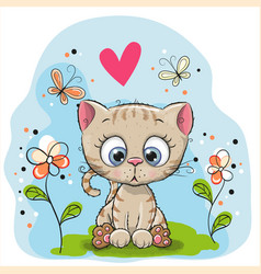 cute kitten with flowers vector image
