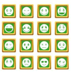 Emoticon icons set green vector