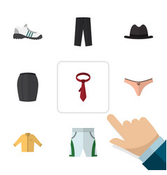 Flat clothes set of pants trunks cloth cravat vector