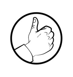 Hand like check finger up outline vector