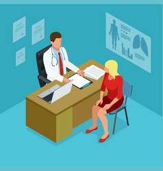 isometric doctor showing something patient on vector image vector image