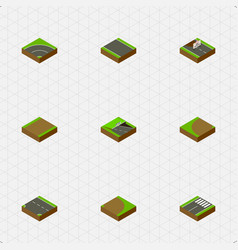 Isometric way set of bitumen footpath footer and vector