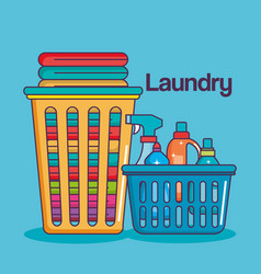 Laundry service clean baskets with cloth and vector