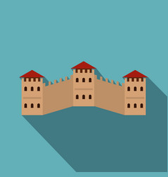 Majestic great wall of china icon flat style vector