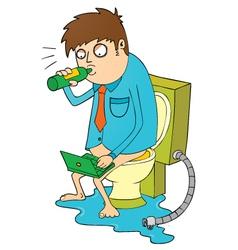 Man drinking on toilet vector