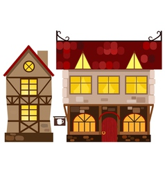 Medieval house and tavern vector