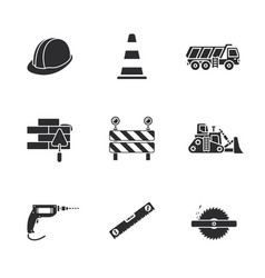 Nine under construction icons vector
