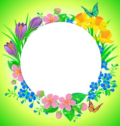 Round banner spring flower vector image vector image