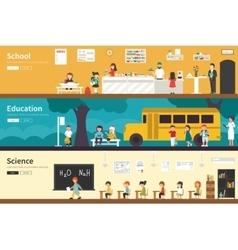School education science flat interior outdoor vector