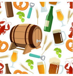 Seamless pattern of beer icons vector