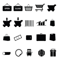 shopping icon set black vector image vector image