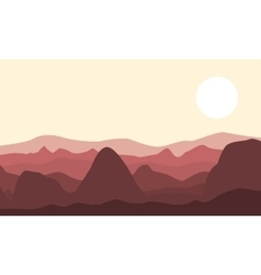 Silhouette of desert and rock landscape vector