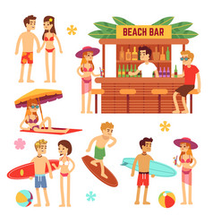 Sunbathing young people on beach fun couple on vector