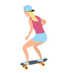 The girl on longboard vector