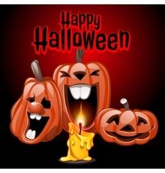 Three pumpkins and candles Happy Halloween vector image vector image