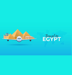 travel to egypt airplane with attractions travel vector image vector image