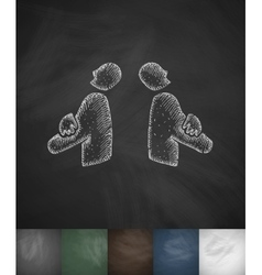 Two businessmen icon hand drawn vector