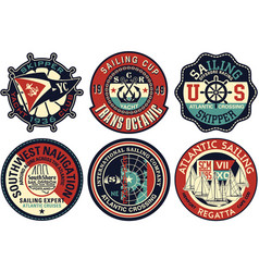 Yachting sailing badges collection vector