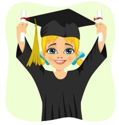 young student girl holding two diplomas vector image