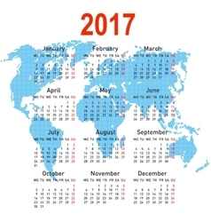 Calendar 2017 with world map week starts on vector