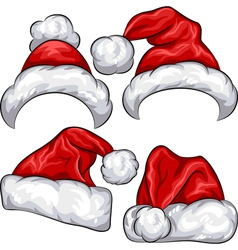 Christmas santa claus hats vector