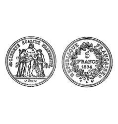Silver francs vintage engraving vector