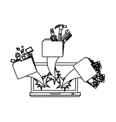 Figure computer with files tools outside icon vector