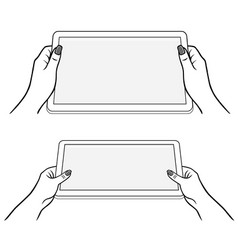 womans hands keeps tablet vector image