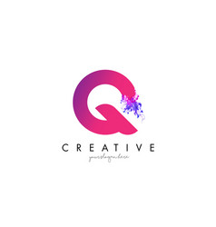 Q letter logo design with ink cloud flowing vector