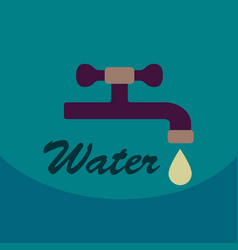Dripping tap with drop line icon for web mobile vector