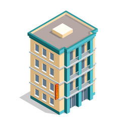 Isometric hotel building place isolated icon vector