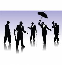 men silhouettes with umbrella vector image