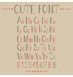 Hand drawn alphabet in retro style vector image