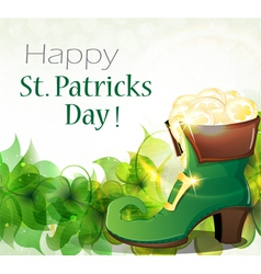 Leprechaun shoe clover and gold coins vector
