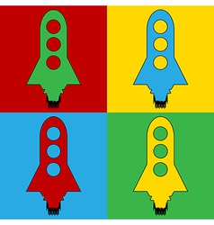 Pop art starting rocket icons vector