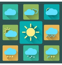 Flat weather icons and set long shadows seasons vector